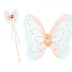 Set Kara: Ali di farfalla, bacchetta magica, curati nei dettagli, decorazioni glitter adatatte dai 2/3 anni in su,